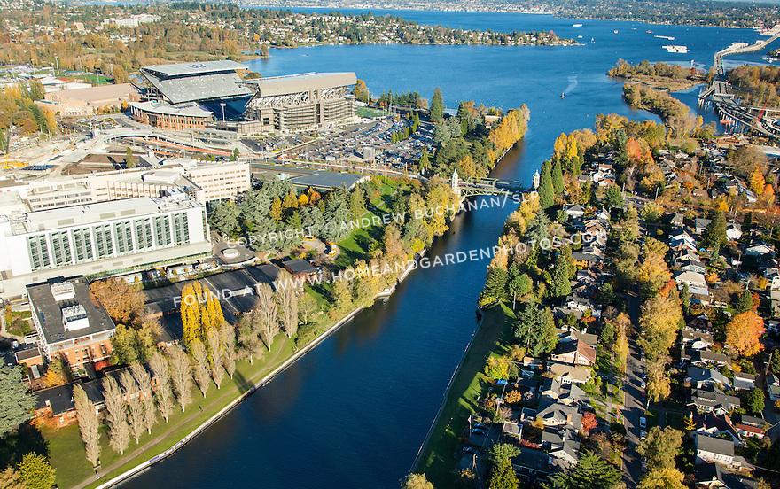 Aerial photo of the Montlake Cut, Husky Stadium at the University of Washington