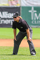 Base umpire Jennifer Pawol during a Midwest League game between the Clinton LumberKings and the Lansing Lugnuts on July 15, 2018 at Ashford University Field in Clinton, Iowa. Clinton defeated Lansing 6-2. (Brad Krause/Four Seam Images)