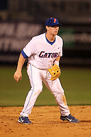 """Florida Gators Nolan Fontana #4 during a game vs. the Florida State Seminoles in the """"Florida Four"""" at George M. Steinbrenner Field in Tampa, Florida;  March 1, 2011.  Florida State defeated Florida 5-3.  (Mike Janes/Four Seam Images)"""