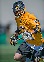 16 April 2016: University of Maryland, Baltimore County Retriever Midfielder Max Haldeman, a Sophomore from York, PA, in action against the University of Vermont Catamounts at Virtue Field in Burlington, Vermont. The Retrievers fell to the Catamounts 14-10 in NCAA Division I play. Mandatory Credit: Ed Wolfstein Photo *** RAW (NEF) Image File Available ***