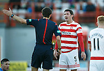 Hamilton Accies v St Johnstone...31.10.15  SPFL  New Douglas Park, Hamilton<br /> Ref Kevin Clancy argues with Martin Canning after he fouled Michael O'Halloran<br /> Picture by Graeme Hart.<br /> Copyright Perthshire Picture Agency<br /> Tel: 01738 623350  Mobile: 07990 594431