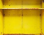 Inside of metal cabinet in salvage yard.