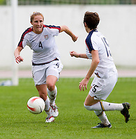 Megan Rapinoe, Rachel Buehler. The USWNT defeated Denmark, 2-0, in Lagos, Portugal during the Algarve Cup.