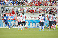 Rodolfo Zelaya (11) of El Salvador take a penalty kick against Nick Rimando (1) of the USMNT. The USMNT defeated El Salvador 5-1 at the quaterfinal game of the Concacaf Gold Cup, M&T Stadium, Sunday July 21 , 2013.
