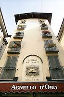 La facciata del ristorante ed albergo Agnello d'Oro a Bergamo.<br /> The facade of the Agnello d'Oro restaurant and hotel in Bergamo.<br /> UPDATE IMAGES PRESS/Riccardo De Luca
