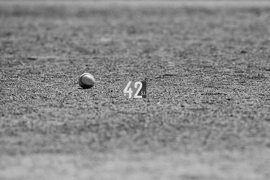 24 May 2009: A ball is seen in the infield during the 2009 challenge de France, a tournament with the best French baseball teams - all eight elite league clubs - to determine a spot in the European Cup next year, at Montpellier, France. Senart wins 8-5 over La Guerche.