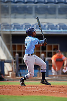 Tampa Bay Rays Kea'von Edwards (54) follows through on a swing during a Florida Instructional League game against the Baltimore Orioles on October 1, 2018 at the Charlotte Sports Park in Port Charlotte, Florida.  (Mike Janes/Four Seam Images)