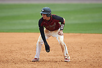 Chet Sikes (7) of the North Carolina Central Eagles takes his lead off of first base against the North Carolina A&T Aggies at Durham Athletic Park on April 10, 2021 in Durham, North Carolina. (Brian Westerholt/Four Seam Images)