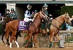"""October 07, 2018 : #10 Current and jockey Jose Ortiz before winning the 28th running of The Dixiana Bourbon (Grade 3) $250,000 """"Win and You're In Breeders' Cup Juvenile Turf Division"""" for trainer Todd Pletcher and owner Eclipse Thoroughbred and Robert LaPenta at Keeneland Race Course on October 07, 2018 in Lexington, KY.  Candice Chavez/ESW/CSM"""