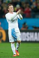 Wayne Rooney of England looks dejected as he applauds the fans