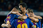 Players of FC Barcelona celebrates during the La Liga match between FC Barcelona vs RCD Espanyol at the Camp Nou on 09 September 2017 in Barcelona, Spain. Photo by Vicens Gimenez / Power Sport Images