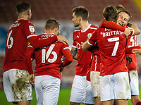 21st November 2020, Oakwell Stadium, Barnsley, Yorkshire, England; English Football League Championship Football, Barnsley FC versus Nottingham Forest; Cauley Woodrow of Barnsley celebrates with team mates after making it 2-0 in min 88
