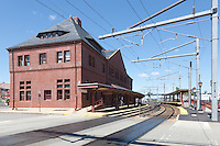 New London Union Railroad Station and Amtrak tracks serving the northeast corridor in New London, Connecticut