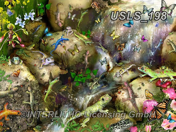 Lori, REALISTIC ANIMALS, REALISTISCHE TIERE, ANIMALES REALISTICOS, zeich, paintings+++++Gecko_Waterfall,USLS198,#a#, EVERYDAY ,puzzle,puzzles