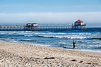 A spring day at Huntington Beach, California.
