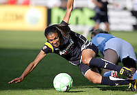 LA Sol midfielder Marta (10) fights for the ball in front of the Chicago Red Star goal.  The Chicago Red Stars defeated the LA Sol 3-1 at Toyota Park in Bridgeview, IL on August 2, 2009.