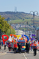 Pictured: Pride parade travels through the Kingsway in Swansea, Wales, UK. Saturday 05 May 2018<br /> Re: Spring Pride has brought a celebration of colour to the streets of Swansea in Wales, UK.<br /> Rainbow flags were flown in support of the LGBT community at the event, which is designed to raise awareness and is open to anyone to take part in.