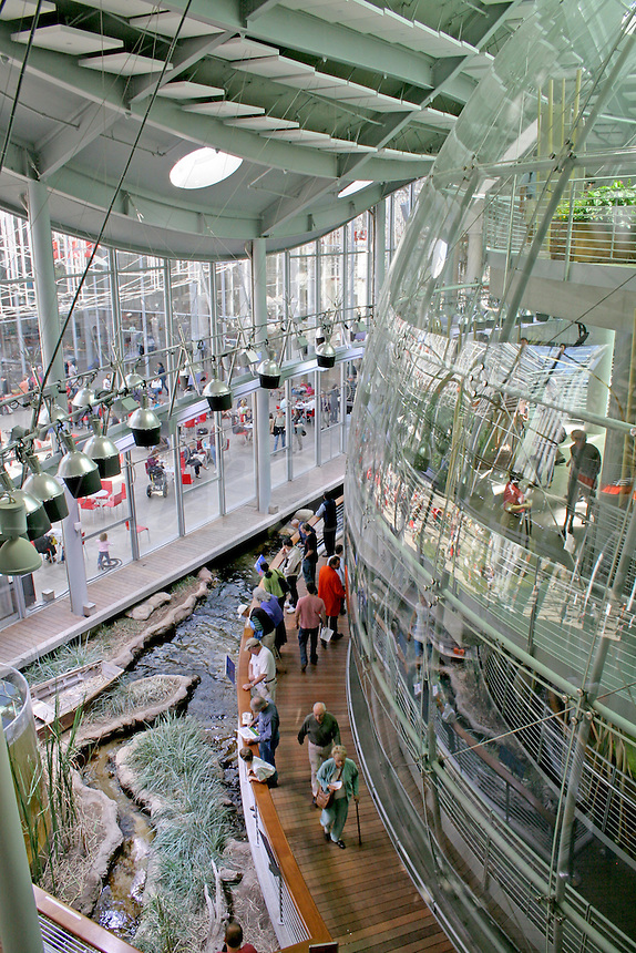 People near Rainforests of the World sphere, new California Academy of Sciences, San Francisco California