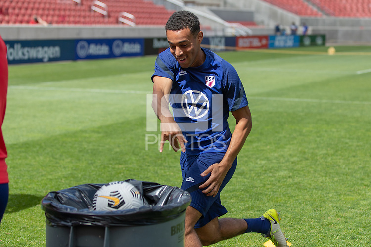 SANDY, UT - JUNE 8: Tyler Adams of the United States during a training session at Rio Tinto Stadium on June 8, 2021 in Sandy, Utah.
