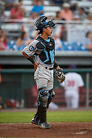 Hudson Valley Renegades catcher Michael Berglund (29) during a game against the Auburn Doubledays on September 5, 2018 at Falcon Park in Auburn, New York.  Hudson Valley defeated Auburn 11-5.  (Mike Janes/Four Seam Images)