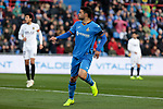 Getafe CF's Jorge Molina during La Liga match between Getafe CF and Valencia CF at Coliseum Alfonso Perez in Getafe, Spain. November 10, 2018.