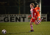 20140221 - OOSTAKKER , BELGIUM : Antwerp Angelique De Wulf pictured during the soccer match between the women teams of AA Gent Ladies  and RAFC Antwerp Ladies , on the 19th matchday of the BeNeleague competition Friday 21 February 2014 in Oostakker. PHOTO DAVID CATRY