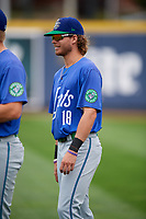 Hartford Yard Goats Max White (18) before a game against the Erie SeaWolves on August 6, 2017 at UPMC Park in Erie, Pennsylvania.  Erie defeated Hartford 9-5.  (Mike Janes/Four Seam Images)