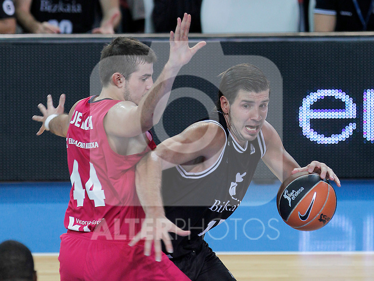 Bizkaia Bilbao Basket's Marko Banic (r) and Caja Laboral's Nemanja Bjelica during Supercopa ACB Semifinal match.September 30,2011. (ALTERPHOTOS/Acero)