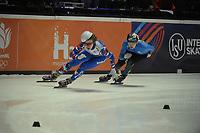 SPEEDSKATING: DORDRECHT: 05-03-2021, ISU World Short Track Speedskating Championships, Heats 500m Men, Konstantin Ivliev (RSU), Adil Galiakmetov (KAZ), ©photo Martin de Jong