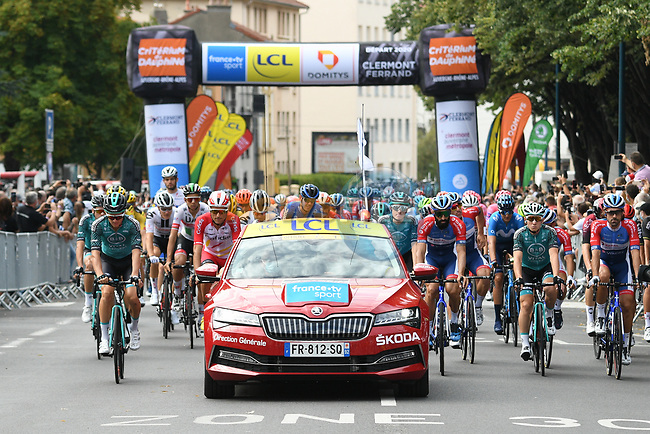 The start of Stage 1 of Criterium du Dauphine 2020, running 218.5km from Clermont-Ferrand to Saint-Christo-en-Jarez, France. 12th August 2020.<br /> Picture: ASO/Alex Broadway | Cyclefile<br /> All photos usage must carry mandatory copyright credit (© Cyclefile | ASO/Alex Broadway)