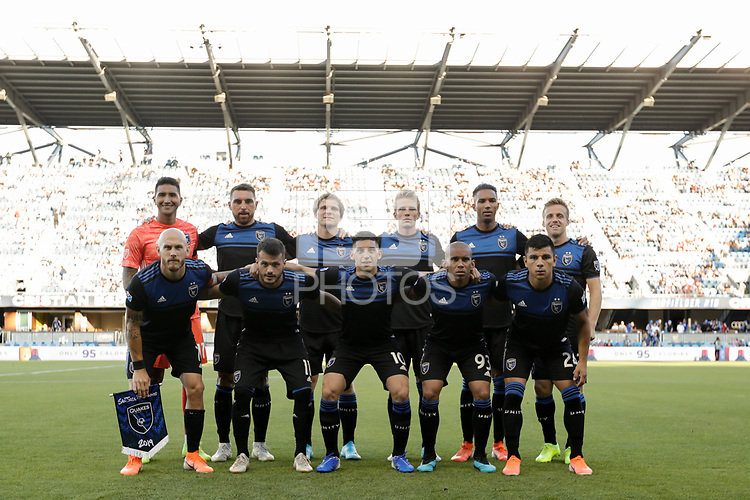 SAN JOSE, CA - AUGUST 03: San Jose Earthquakes Starting Eleven  during a Major League Soccer (MLS) match between the San Jose Earthquakes and the Columbus Crew on August 03, 2019 at Avaya Stadium in San Jose, California.