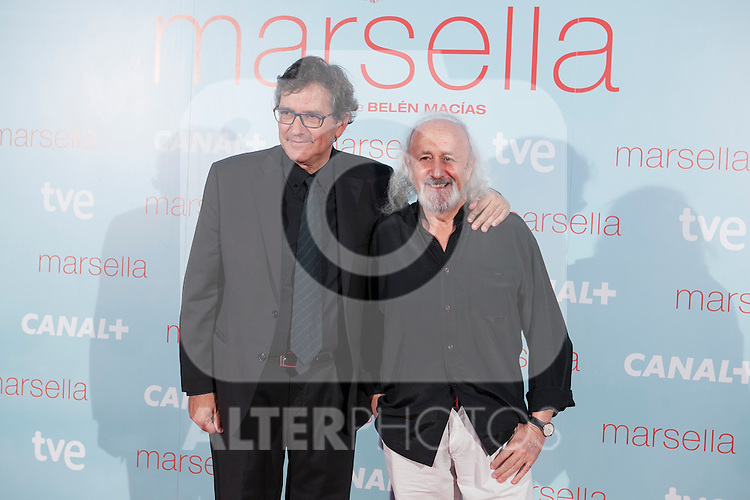 Gerardo Herrero (L) and Montxo Armendariz (R) poses at `Marsella´ film premiere photocall at Capital cinema in Madrid, Spain. July 17, 2014. (ALTERPHOTOS/Victor Blanco)