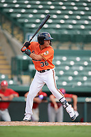Baltimore Orioles Alexis Torres (36) at bat during a Florida Instructional League game against the Philadelphia Phillies on October 4, 2018 at Ed Smith Stadium in Sarasota, Florida.  (Mike Janes/Four Seam Images)