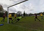 Keswick 1 Kendal 1, 15/04/2017. Fitz Park, Westmoreland League. The Keswick goalkeeper spills a high ball. Photo by Paul Thompson.