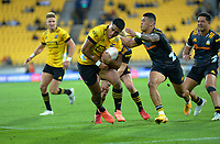 Hurricane's Salesi Rayasi charges for the tryline during the Super Rugby Aotearoa match between the Hurricanes and Chiefs at Sky Stadium in Wellington, New Zealand on Saturday, 20 March 2020. Photo: Dave Lintott / lintottphoto.co.nz
