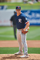 Bryan Pall (17) the starting pitcher of the Tacoma Rainiers looks to the plate against the Salt Lake Bees  at Smith's Ballpark on May 16, 2021 in Salt Lake City, Utah. The Bees defeated the Rainiers 8-7. (Stephen Smith/Four Seam Images)