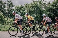yellow jersey / GC leader Geraint Thomas (GBR/SKY) up the first climb of the day: the Montée de Bisanne<br /> <br /> Stage 6: Frontenex > La Rosière Espace San Bernardo (110km)<br /> 70th Critérium du Dauphiné 2018 (2.UWT)