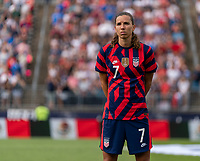 EAST HARTFORD, CT - JULY 5: Tobin Heath #7 of the USWNT stands on the field during a game between Mexico and USWNT at Rentschler Field on July 5, 2021 in East Hartford, Connecticut.
