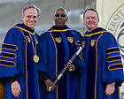 May 18, 2014; University of Notre Dame president Rev. John Jenkins, C.S.C., left, and Notre Dame Board of Trustees chairman Richard Notebaert, right, present an honorary degree to Judith Jamison at the 2014 Commencement ceremony in Notre Dame Stadium.<br /> <br /> Photo by Matt Cashore/University of Notre Dame