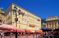 Nice, Provence, France. Cafes on the Cours Saleya in the old town.