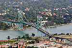 "The Ambassador Bridge. Photograph taken from on board the Akron, Ohio based ""Spirit of Goodyear"" airship on Monday, July 11, 2005 as it headed out to the start of the 2005 Major League Baseball All-Stars Homerun Derby at Comerica Park in downtown Detroit, Mich. (Photo by Tony Ding)."