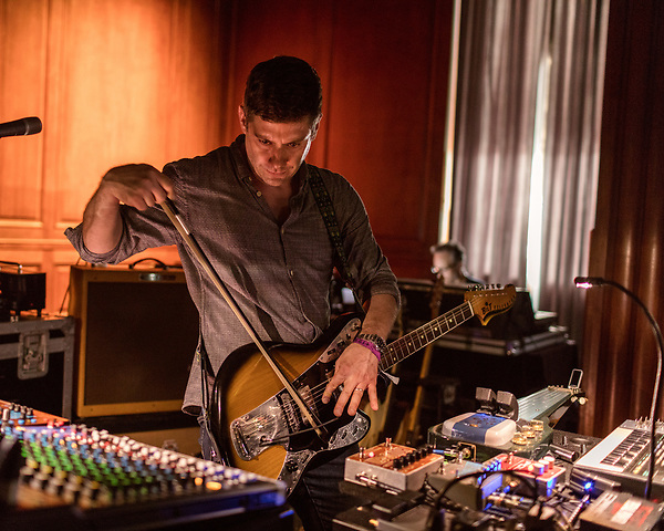 May 18, 2018. Durham, North Carolina.<br /> <br /> Wes Borland performed a 4 hour durational set at the 21c Hotel.<br /> <br /> Moogfest 2018 showcases 4 days of music, art and technology spread out amongst venues in and around downtown Durham.