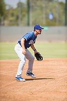 Los Angeles Dodgers third baseman Luke Heyer (13) during an Instructional League game against the Milwaukee Brewers at Maryvale Baseball Park on September 24, 2018 in Phoenix, Arizona. (Zachary Lucy/Four Seam Images)