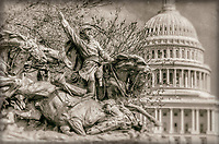 Calvary Charge Civil War Memorial United States Capitol Building Washington DC Black and White Photography Washington DC Art - - Framed Prints - Wall Murals - Metal Prints - Aluminum Prints - Canvas Prints - Fine Art Prints Washington DC Landmarks Monuments Architecture