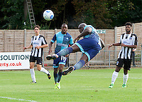 Adebayo Akinfenwa of Wycombe Wanderers  heads the ball on goal during the Friendly match between Maidenhead United and Wycombe Wanderers at York Road, Maidenhead, England on 30 July 2016. Photo by Alan  Stanford PRiME Media Images.