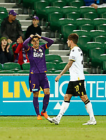 23rd May 2021; HBF Park, Perth, Western Australia, Australia; A League Football, Perth Glory versus Macarthur; Christopher Ikonomidis of Perth Glory reacts to his shot being saved by the goalkeeper