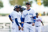 AFL West left fielder Cavan Biggio (26), of the Surprise Saguaros and Toronto Blue Jays organization, during player introductions before the Arizona Fall League Fall Stars game at Surprise Stadium on November 3, 2018 in Surprise, Arizona. The AFL West defeated the AFL East 7-6 . (Zachary Lucy/Four Seam Images)