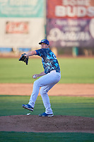 Drew Finley (21) of the Ogden Raptors delivers a pitch to the plate against the Rocky Mountain Vibes at Lindquist Field on July 5, 2019 in Ogden, Utah. The Raptors defeated the Vibes 6-4. (Stephen Smith/Four Seam Images)