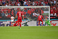 7th July 2021, Wembley Stadium, London, England; 2020 European Football Championships (delayed) semi-final, England versus Denmark;   RAn own goal from Simon KJAER DEN for 1-1 watched by Andreas CHRISTENSEN DEN and goalkeeper Kasper SCHMEICHEL DEN as Sterling adds pressure
