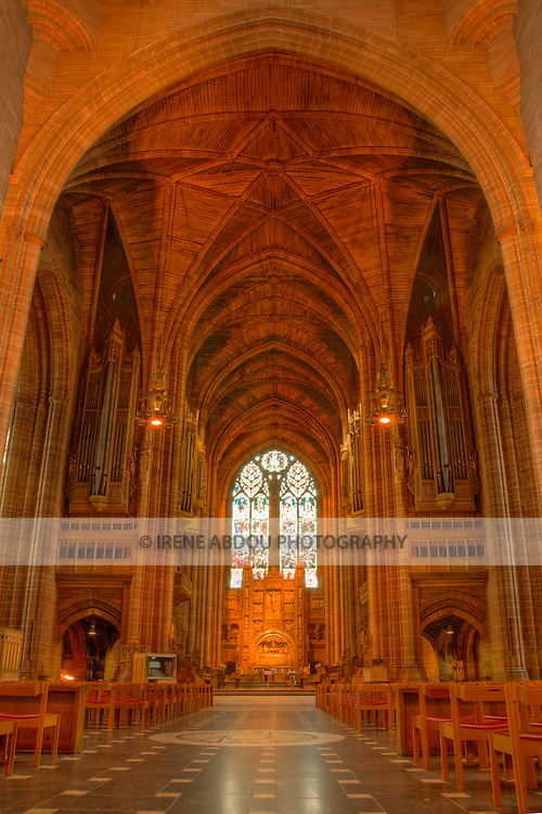 High dynamic range (HDR) imaging shows off the intricate architecture of the  of an interior section of the Roman Catholic Metropolitan Cathedral of Liverpool in England's 5th most populous city.  The second-largest pipe organ in the country is also housed in this choir.
